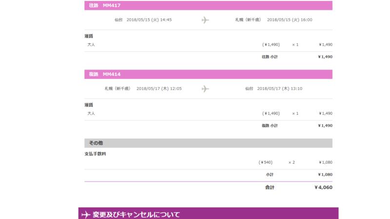 仙台-新千歳往復チケットが¥4060