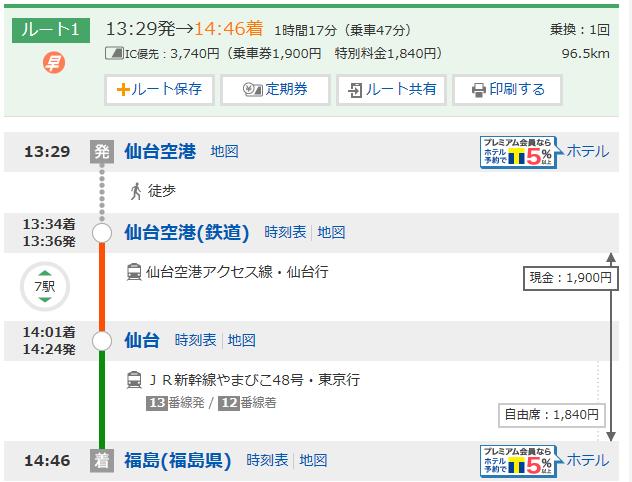 仙台空港-福島(JR+新幹線)