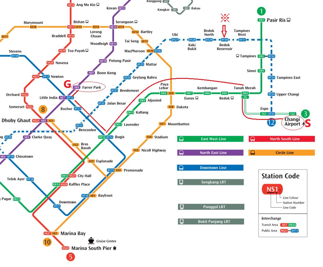 シンガポール2016 -MRTマップ-空港~ファラーパーク