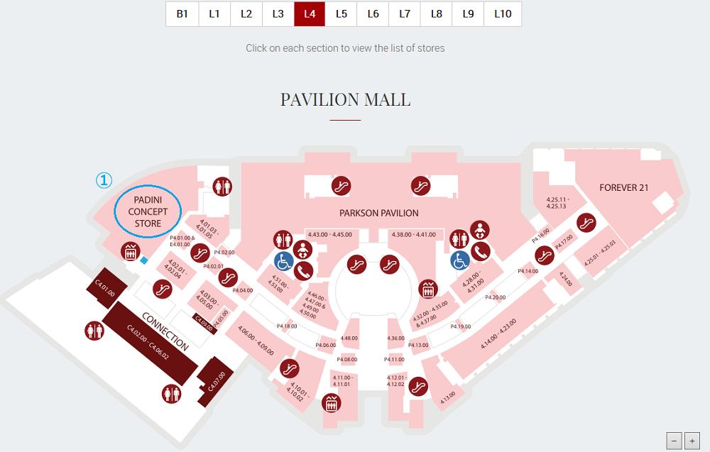 シンガポール2016-パビリオンKL4Fマップ