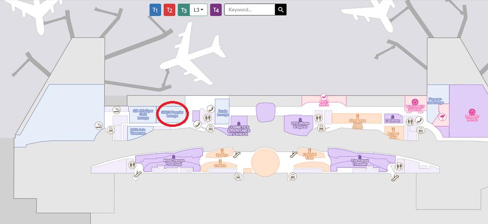 シンガポール2016-チャンギ国際空港T3-レベル3マップ