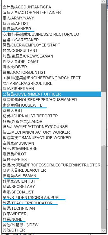 職業リスト