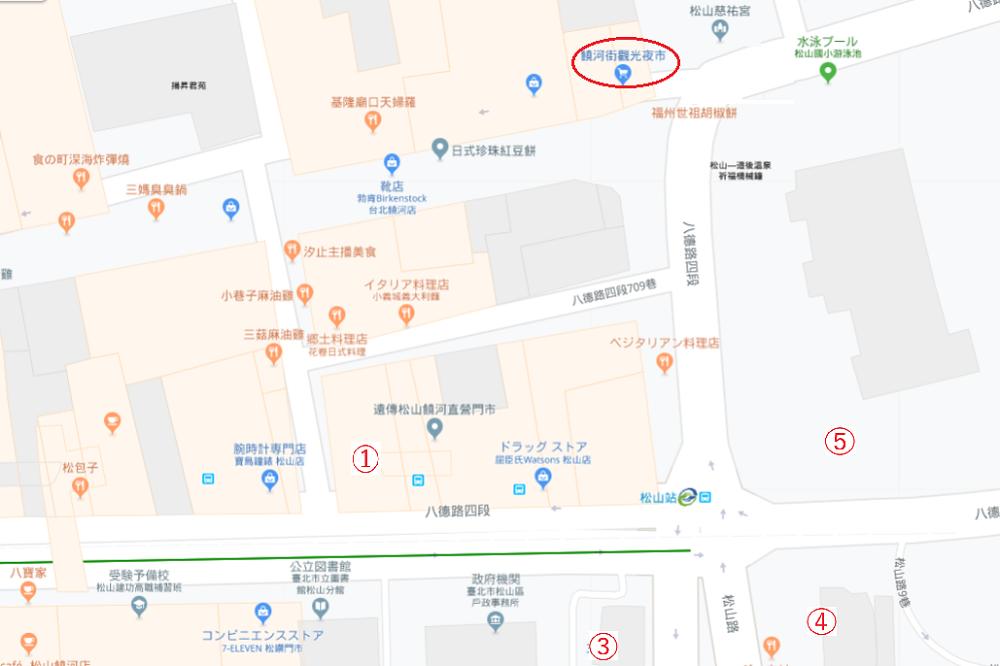 MRT松山駅の出口マップ