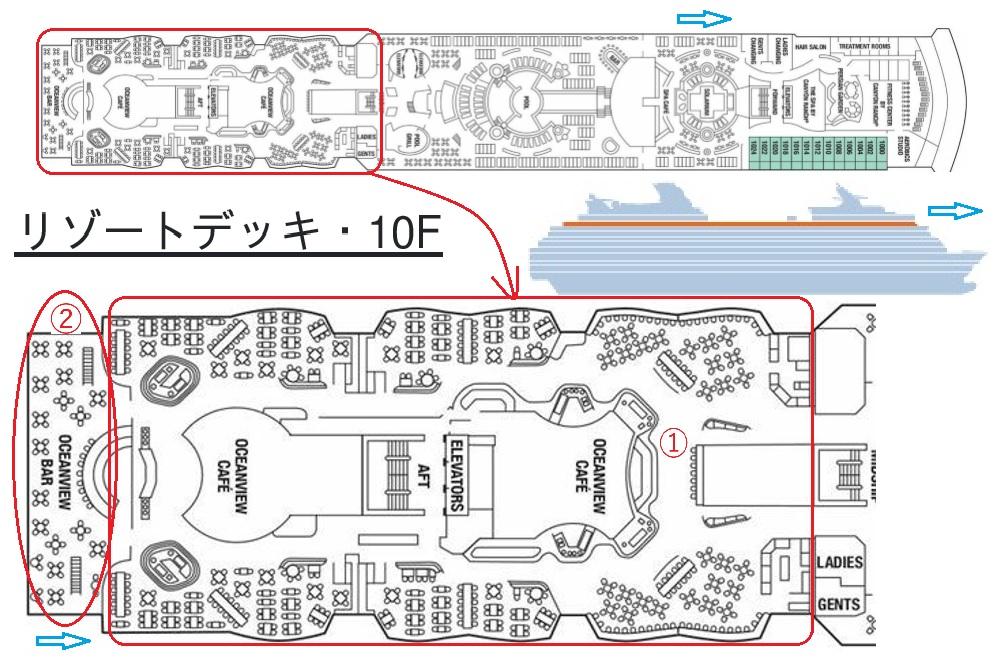 リゾートデッキ・10F船尾側マップ