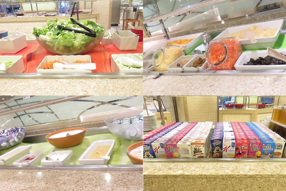 サラダ・ドライフルーツ・コンポート・ヨーグルト・シリアル